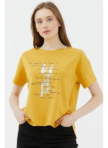Sementa Yazı Baskılı Kısa Kol Tshirt - Hardal Hardal